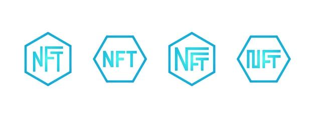 Nft 대체 불가능한 파란색 토큰 로고는 독점 아트 아이콘 컬렉션을 구매하기 위해 온라인 화폐를 설정합니다.