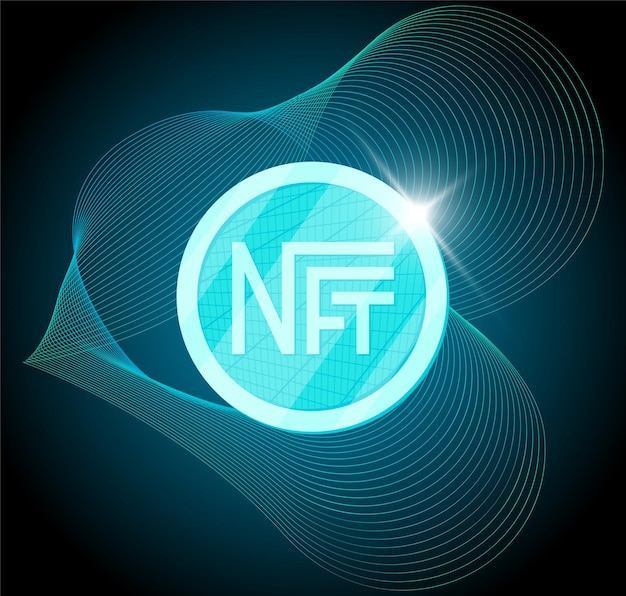 Nft nonfungible token on abstract linear striped blue background online money for buy exclusive art