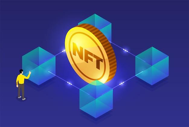 Nft nonfungible token illustrations. flat design concept.