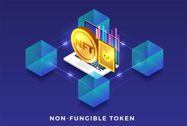 Nft nonfungible token illustrations. flat design concept. Premium Vector