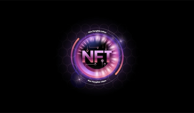 Nft token in purple color with glitter effect