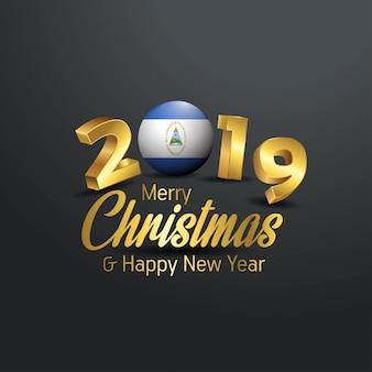 Nicaragua flag 2019 merry christmas typography