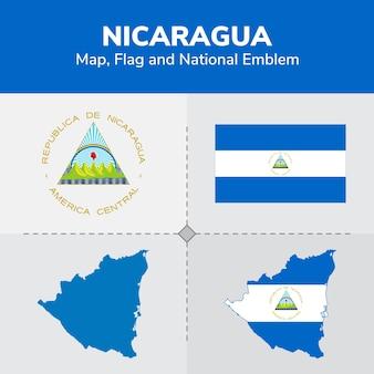 Nicaragua map, flag and national emblem
