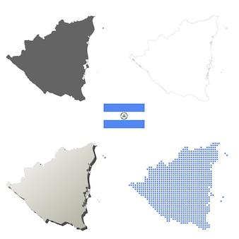 Nicaragua vector outline map set