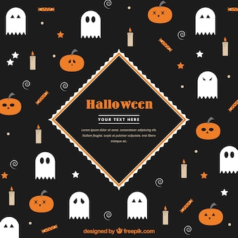 Nicd flat halloween elements background