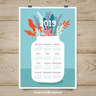Bel calendario 2019 in design piatto
