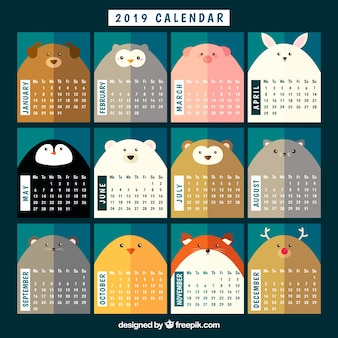 Nice 2019 calendar with animals