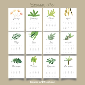 Nice 2019 calendar with colourful leaves