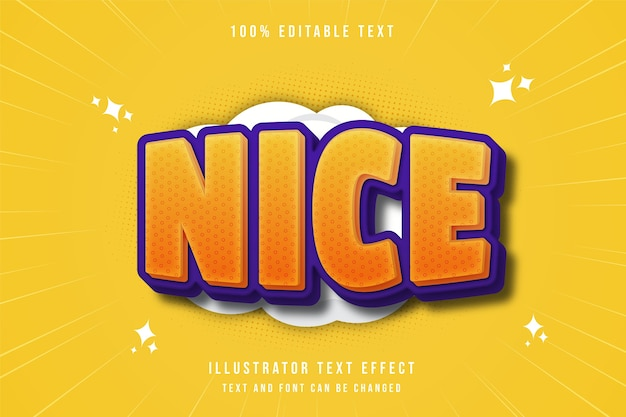 Nice,3d editable text effect yellow gradation purple comic style