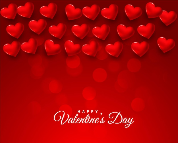 Nice 3d valentines day red celebration card