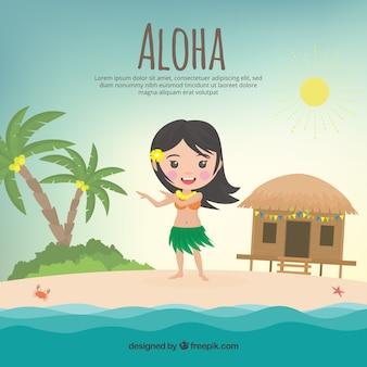 Nice aloha background with girl and cottage