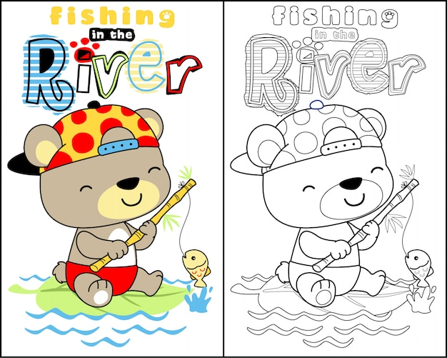 Nice animal cartoon on coloring book vector