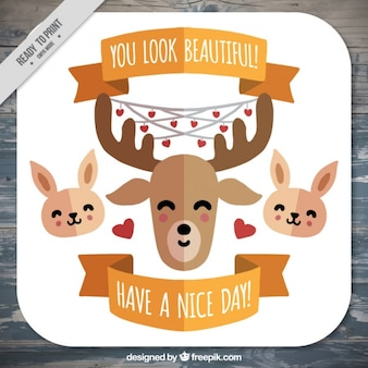 Nice animals card with motivational phrase