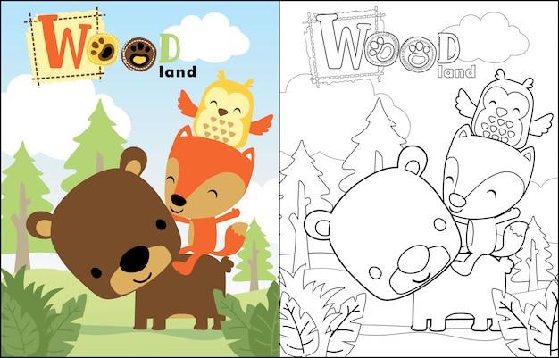 Nice animals cartoon in jungle