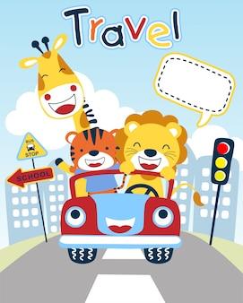 Милый мультфильм животных на забавном транспортном средстве