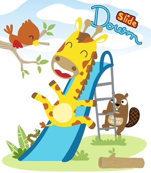 Nice animals cartoon playing slide