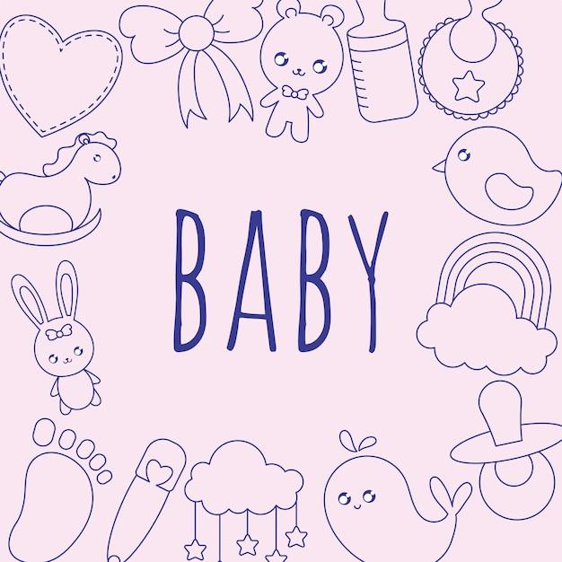 항목이 있는 멋진 아기 카드