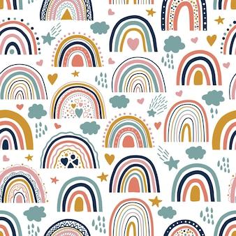 素敵な赤ちゃんニュートラルボヘミアンレインボーシームレスパターン。トレンドの虹が浮かび上がります。ベビーシャワーの招待状、カード、保育室、ポスター、布地のための自由奔放に生きる虹。