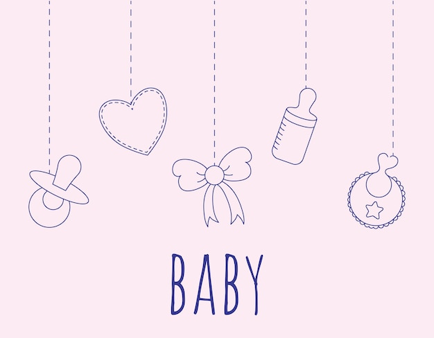 항목이 있는 멋진 아기 포스터