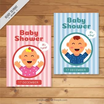 Carte bambino bella doccia