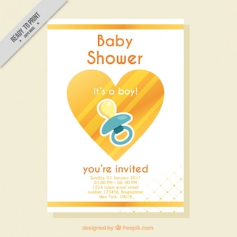 Nice baby shower invitation with heart and pacifier
