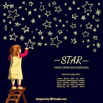 Nizza sfondo del disegno ragazza stelle
