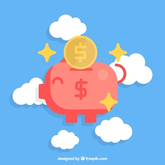 Nice background of happy piggy bank among the clouds