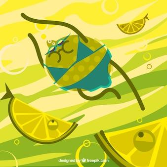 魚の中のレモン泳ぎの素敵な背景