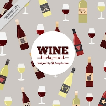 Nice background with bottles of different types of wine and glasses