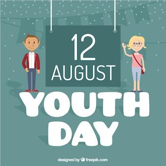 Хороший фон дня молодежи со знаком
