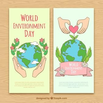 Приятные знамена экологического дня в мире
