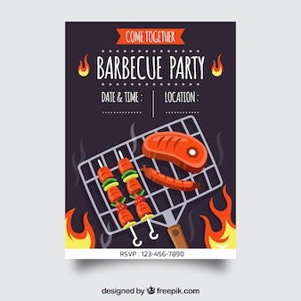 Nice barbecue party poster in flat design