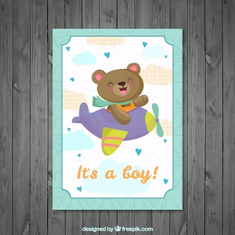 Nice bear on a smallplane baby shower card