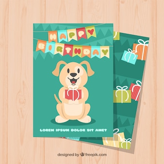Nice birthday card with a dog in flat design