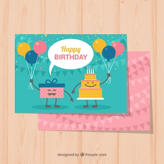 평면 디자인의 멋진 생일 엽서