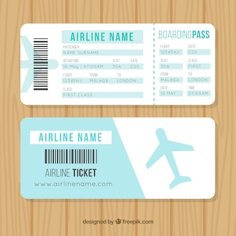 Nice boarding pass with blue airplane