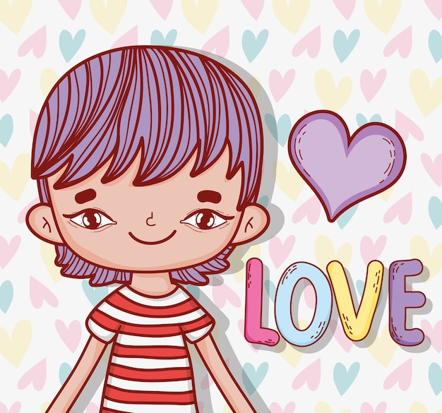 Nice boy harstyle with heart and love message