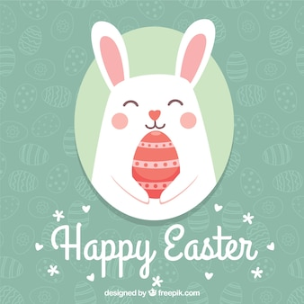 Nice bunny easter background Free Vector