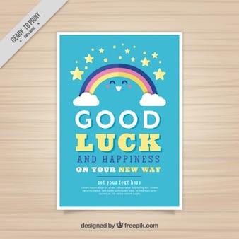 Bella cartolina di buona fortuna con arcobaleno