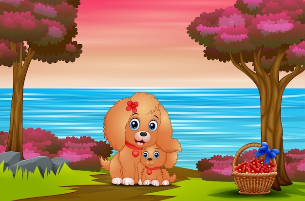 Nice cartoon mother dog with her puppy outdoors