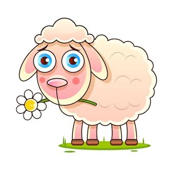 Nice cartoon vector sheep vector sketch stock illustration on a background. for design, decoration, logo.