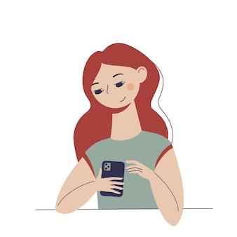 그녀의 손에 전화와 함께 좋은 만화 젊은 여자.