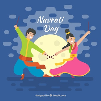 Nice celebration background of navratri with couple dancing