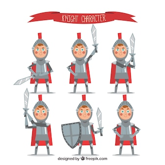 平らなデザインの鎧を持つ子供の素敵なキャラクター