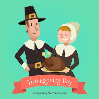 Nice characters background celebrating thanksgiving