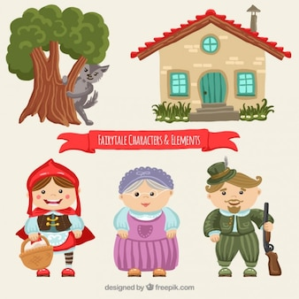 Nice characters of little red riding hood