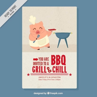 Nice chef piglet doing a barbecue flyer