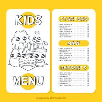 Bel menu per bambini con schizzi di cibo