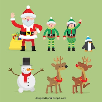 Nice рождественские символы в плоском дизайне