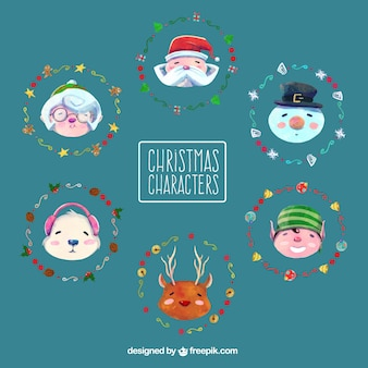 Nice christmas characters painted with watercolor